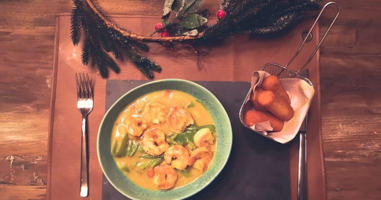 Deze rijkelijk gevulde scampi curry verovert iedereen zijn hart!